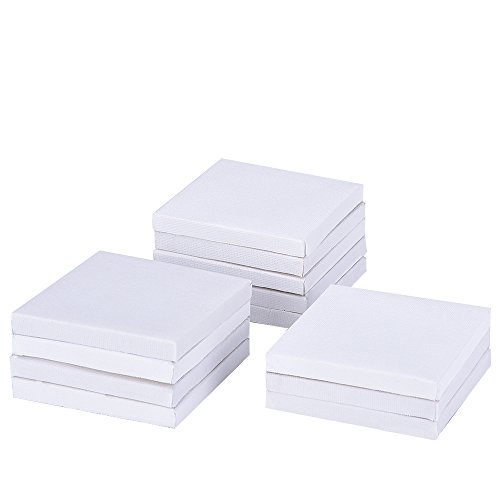 Outus 12 Pack Mini Canvas Panels for Painting Craft Drawing (3 x 3 Inch)