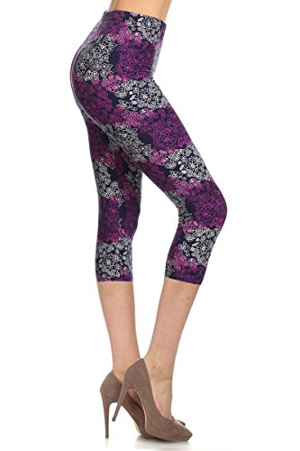 R597-CA-3X5X Purple Elegance Capri Print Leggings