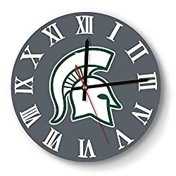 Wall Clock Simple Michigan-State-Spartans-Basketball-White- Style Mute Digital Clock for Living Room