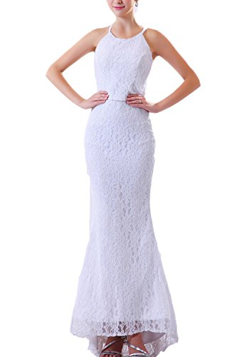 Angel Formal Dresses Lace Halter Feather Brush Train Mermaid Wedding (Halter Brush Train)