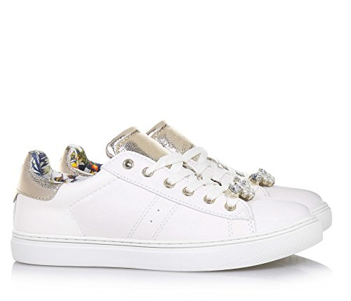 Jo Weißer Liu Goldene Vorderseite Damen Schuh Mädchen Schnürsenkeln Auf Aus In Italy Made Leder Der Applikationen Mit UTqqwd