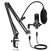 #LightningDeal USB Condenser Microphone Bundle Kit,192KHZ/24BIT Professional Cardioid Computer Mic with Adjustable Scissor Arm Stand Shock Mount and Gain Knob for Recording,for Podcasting, Gaming, YouTube (Black)