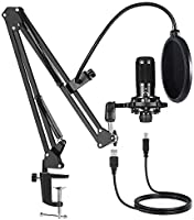 USB Condenser Microphone Bundle Kit,192KHZ/24BIT Professional Cardioid Computer Mic with Adjustable Scissor Arm Stand...