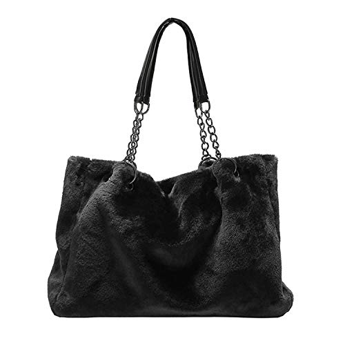 New Vintage Winter Women Plush Shoulder Bag Fashion Casual Women Totes Big Capacity Top Handle Handbags Fur Soft Lady Design Bag,Black
