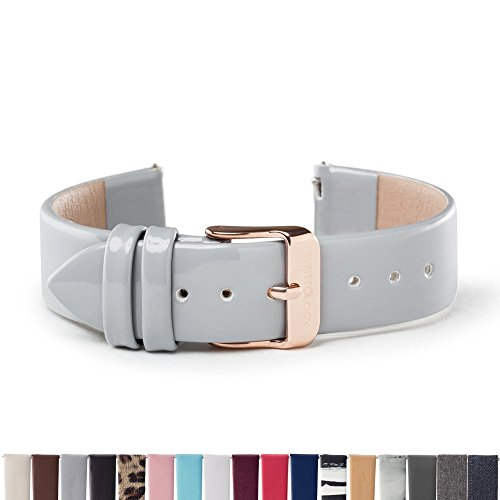 WRISTOLOGY Rose Gold 18mm Womens Easy Interchangeable Watch Band (Grey Patent)
