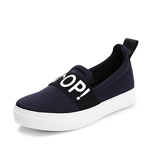 Zapatos Resorte pedal aceite gruesa plataforma la de de zapatos en suela Las lona Azul de zapatos mujeres g1qg7xwPr