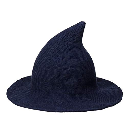 GODIWAN Knitted Wool Blend Pointed Basin Bucket Hat Women Winter Halloween Party Witch Hat -