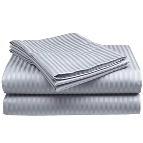Crystal Trading 4-Piece Bed Sheet Set - Dobby Stripe - 100% Cotton Sateen - 300 Thread Count (Queen, Silver)