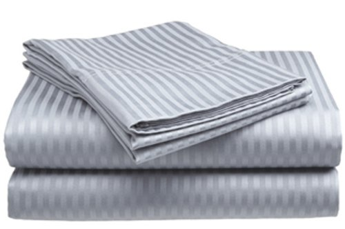 London Home 4-Piece Bed Sheet Set - Dobby Stripe - 100% Cotton Sateen - 400 Thread Count - Full - Silver - Cotton Sateen 400 Thread