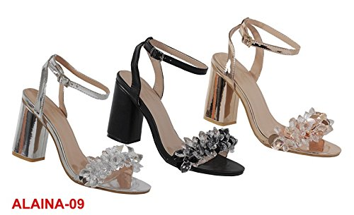 Image of Yoki Metallic Open Toe 3D Crystal Heels Ankle Straped Dress Sandals Alaina-09 Women's Shoes