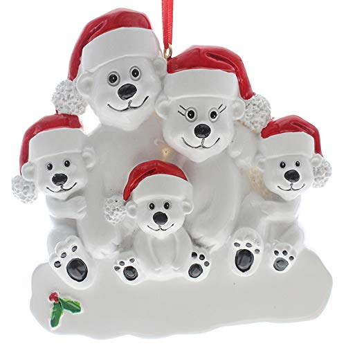 SMYER Polar Bear Family Personalize Christmas Ornament, Free Pen Included with Gift Box, Made of Resin(5 Heads)
