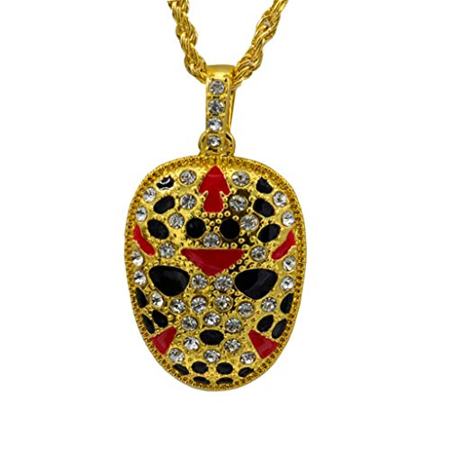 sameno Men's Hip-hop European and American Style Mask Personality Facebook Pendant Necklace Trend Fashion Jewelry (Gold)]()