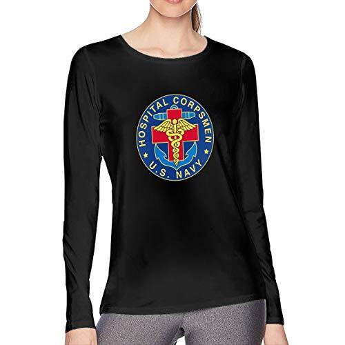 MKLDWA Women US Navy Hospital Corpsman Long Sleeve Shirt Cotton Round Neck Casual Loose T-Shirts