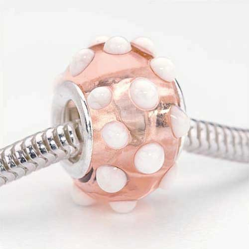Bumpy Glass (Beadaholique Murano Style Glass Lampwork Bumpy Pandora Compatible Beads, 15mm, Peach Pink White)
