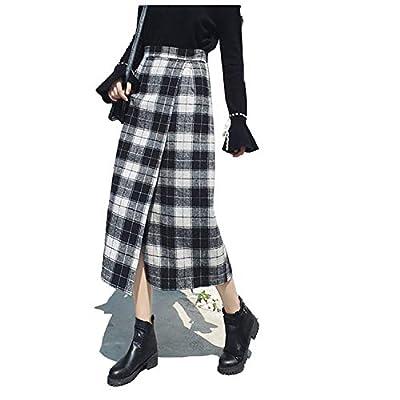 FJ-Direct Women Woolen Skirt Empire Plaid Tartan Party Maxi Skirt Mid-Calf A-Line Vintage Skirts