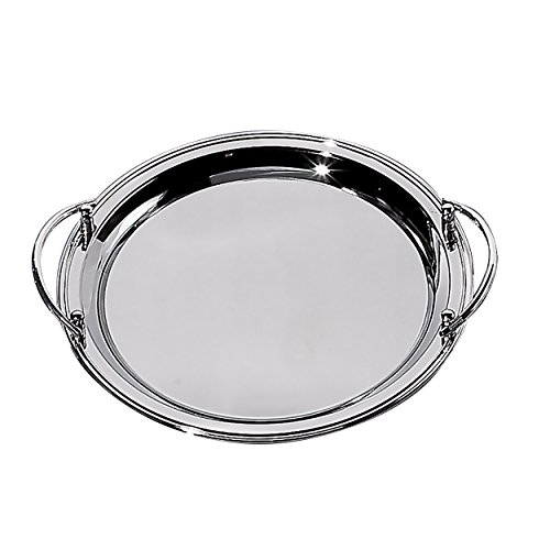 Elegance Silver 82534 Round Nickel Plated Tray with Handles, 14-1/2