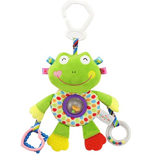 Frog Single Stroller (TOLOLO Baby Pram Bed Bell Rattles Stroller Hanging Toy Soft Cloth Animal Doll ,Stroller and Travel Activity Toy( frog))