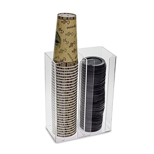 Source One Deluxe Clear Coffee Cup/Lid Soda Fountain Organizer Wall Mount or Counter Top Use (1 Pack, 2 Sleeve)