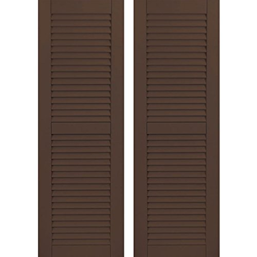 - Ekena Millwork CWL15X080TBC Exterior Composite Wood Louvered Shutters with Installation Brackets (Per Pair), Tudor Brown, 15