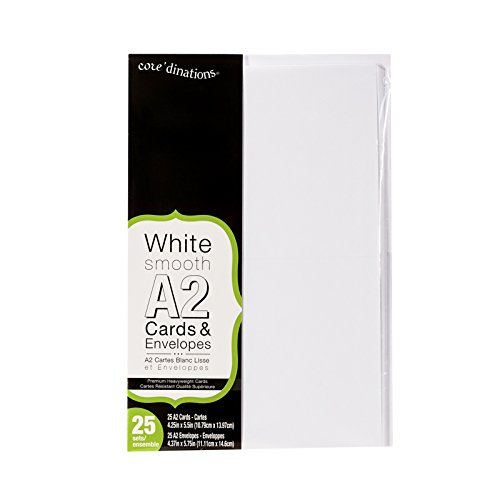 Darice Heavyweight A2 Cards/Envelopes (25 Pack), 4.375 x 5.75, White