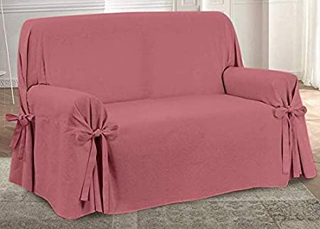 HomeLife – Cubre sofá de 3 plazas – Elegante Protector de sofás Liso – Funda de sofá de algodón para Proteger del Polvo, Las Manchas y el Desgaste, Fabricado en Italia – Rojo: Amazon.es: Hogar