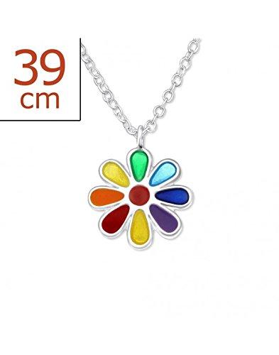 Mon-bijou - H24349 - Jolie collier fleur arc en ciel en argent 925/1000