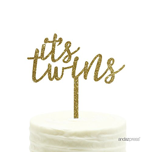 Andaz Press Baby Shower Acrylic Cake Toppers, Gold Glitter, It's Twins, 1-Pack