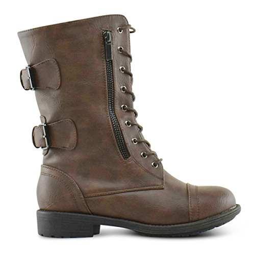 Top Moda Frauen-Pack-72 Lace Up Combat Boot Premier Braun *