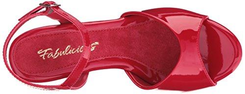 Favolosa Donna Bel309 / R / M Vestito Sandalo Rosso Vernice / Rosso
