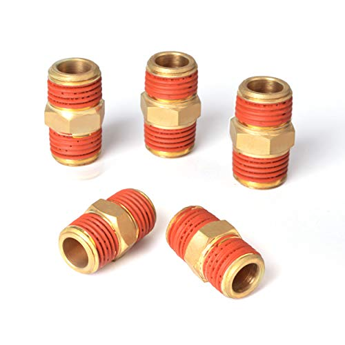 PowRyte Elite Solid Brass Air Hose Fitings, Male Coupling - 1/4-Inch NPT x 1/4-Inch NPT, 5-Pack