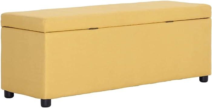 Festnight Silla de Almacenamiento Baúles de Almacenaje Banco con Caja de Almacenaje 116 cm Poliéster Amarillo: Amazon.es: Hogar