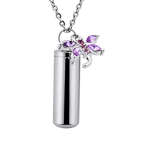 SG Cremation Urn Keychain Rhinestone Dragonfly Charm & Bottle Pendant Necklace for Ashes Memorial Jewelry (Dragonfly-Engraving)