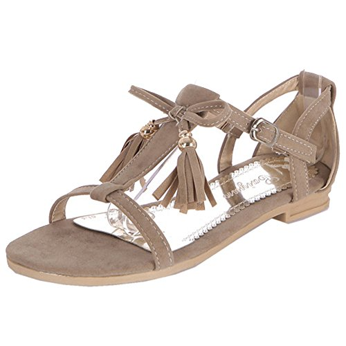 CoolCept Women Flats T-Strap Open Toe Fringed Flat Sandals Shoes Suede Ivory x91HWtvW