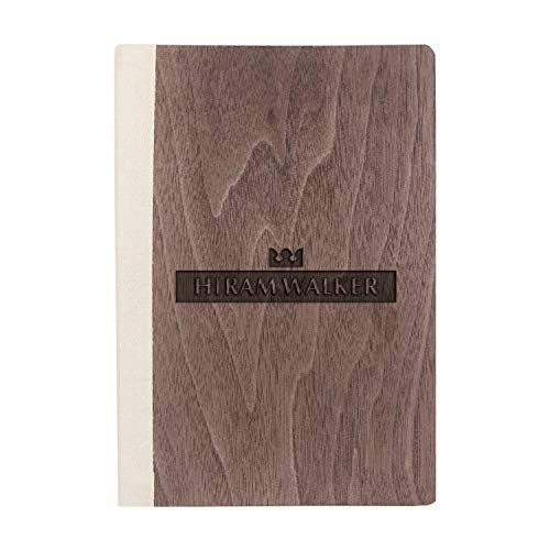 (Logo Hiram Walker Sons (Walnut Wood) Wooden Notebook - Eco-Friendly Natural & Premium Thick Paper - Sketchbook Rustic Wood Wedding Guest Book)