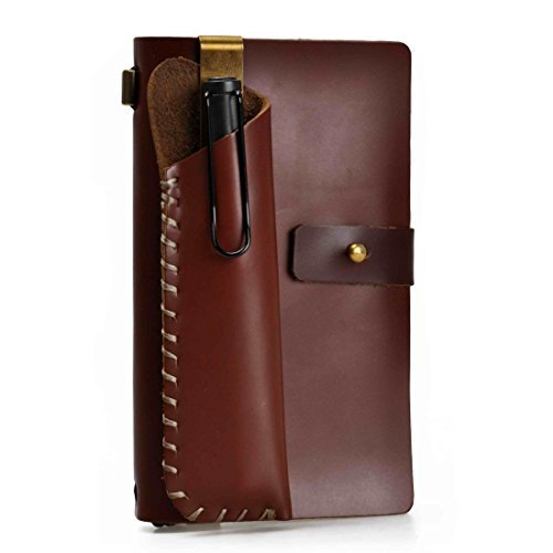 (ZLYC Vintage Handmade Refillable Leather Travelers Journals Diary Notepad Notebook with Pencil Case, Brown)