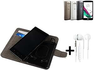 TOP SET: Funda para el LG Electronics G4s + auriculares, Walletcase hecho de cuero sintético en negro, monocromático y simple. Bolsillo para el teléfono móvil con ranuras para tarjetas de crédito y la función del soporte. BookStyle bisagras de la manga para los teléfonos inteligentes. A prueba de golpes del caso, la piel suave cubierta del teléfono móvil funda protectora. Protección integral robusta premium Case Flipstyle | envío de Alemania en un día laborable