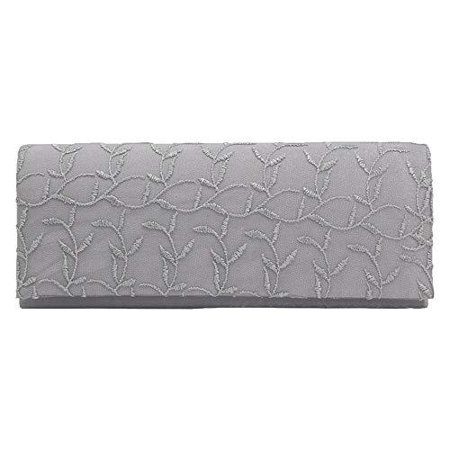 Wocharm Womens New Envelope Shape Lace Decorative Evening Party Handbag Clutches Silver