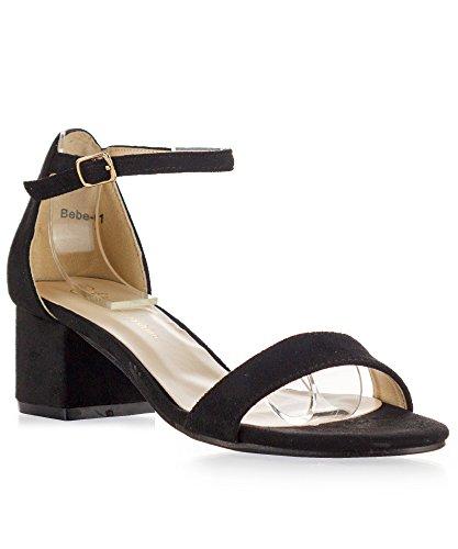 RF ROOM OF FASHION Bebe-01 Open Toe Ankle Strap Sandal - Trendy Kitten Heel Shoe - Low Block Formal Heel - Cute Low Sandal - Faux Leather Vegan Black Su (9)