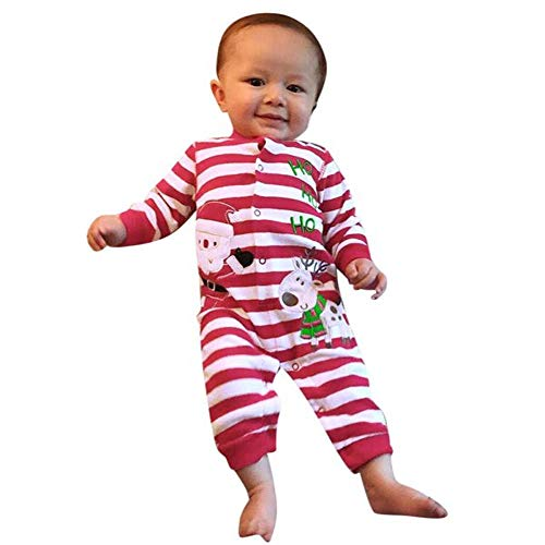Aniywn Infant Baby Christmas Cotton Jumpsuit Long Sleeve Santa Print Striped Cute Romper+Hat Outfit(Red,100)
