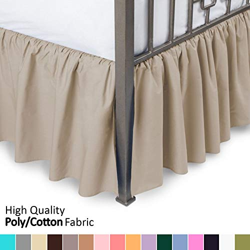 (Ruffled Bed Skirt with Split Corners - King, Camel, 14 Inch Drop Bedskirt (Available in and 16 Colors) Dust Ruffle)