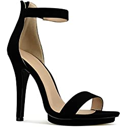 Premier Standard Women's Strappy Kitten High Heel - Formal, Wedding, Party Simple Classic Platform Pump, TPS Heels-10Yma Black Size 7