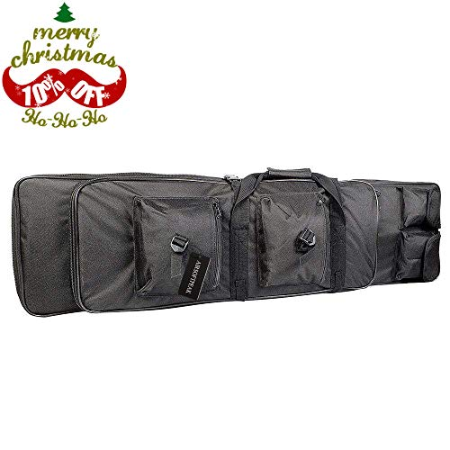 Tactical Rifle Case Double Gun Bag Military Shotgun Bag Gun Storage Backpack with Padded Shoulder Strap Fits Max Length 39 Rifle, Black