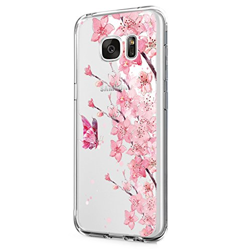 Case for Galaxy S6 Edge Plus Case, Floral Printed Flower Clear Slim TPU Bumper Protective Cover for Galaxy S6 Edge Plus (8)