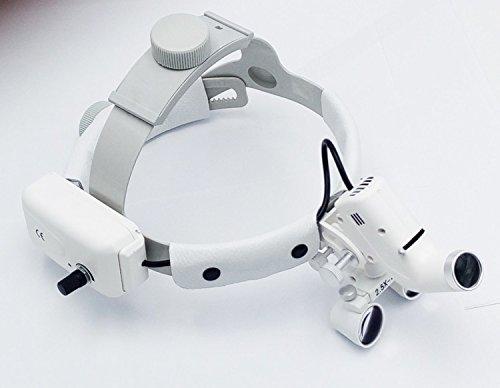 NSKI Dental Surgical Medical 2.5X420mm Adjustable Headband Loupe with LED Headlight DY-105 White