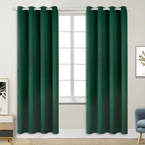 BGment Blackout Curtains - Grommet Thermal Insulated Room Darkening Bedroom and Living Room Curtains, Set of 2 Decorative Curtain Panels (52 x 84 Inch, Emerald Green) ()
