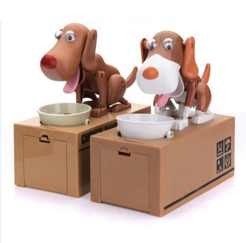 TOOGOO(R) Robotic Dog Puppy Hungry Hound Bank Coin Eating Save Money Box Collection Gift