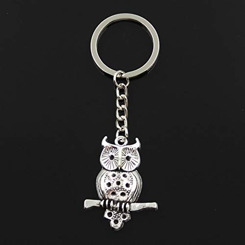 Fashion 30mm Key Ring Metal Chain Keychain Keyring Jewelry Antique Silver Plated Owl Standing Branch 40X31mm Necklace -