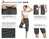 BALEAF Women Lightweight Jogger Capri Pants Running Quick Dry Sun Protection UPF 50+ Zipper Pockets Grey Size XL