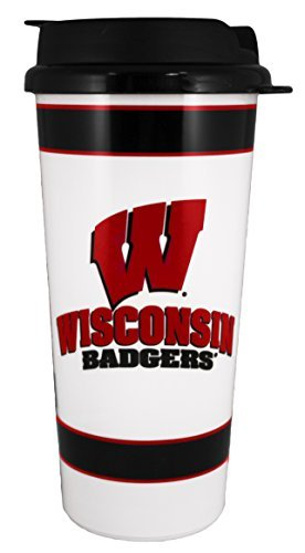 NCAA Wisconsin Badgers 16oz Insulated Travel Tumbler with No Spill Flip Lid (Badgers Wisconsin Cups)