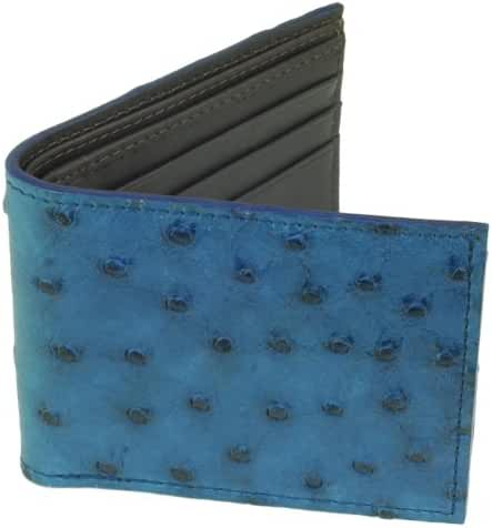 Ostrich Wallet, Bi-Fold w/ ID Holder, 9 Credit Card Slots Indigo Blue